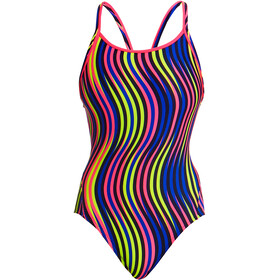 Funkita Diamond Back One Piece Badpak Dames, squiggle piggle